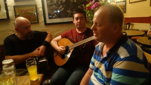 Frits from Holland singing in Gus O'Connor's at Doolin