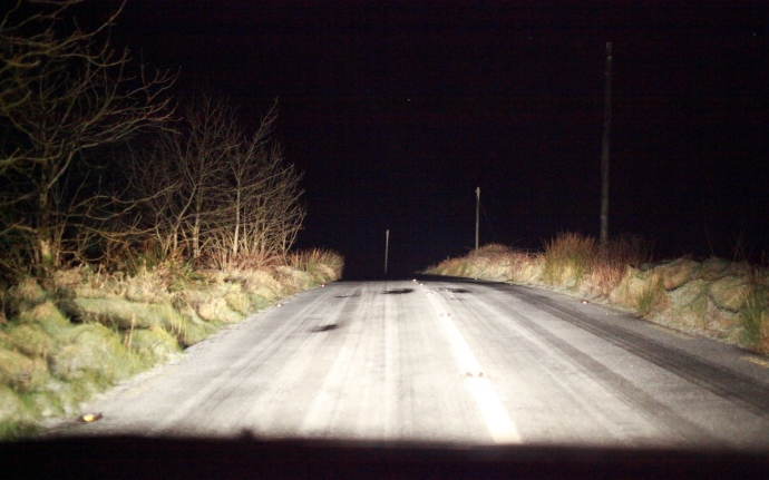 Ice on the road.  Mount Callan, Co Clare.