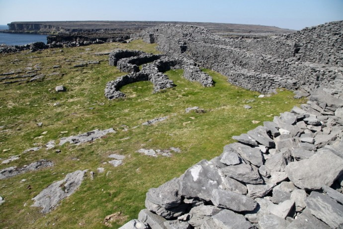 Inis Mor.  Black Fort showing walls of medieval houses