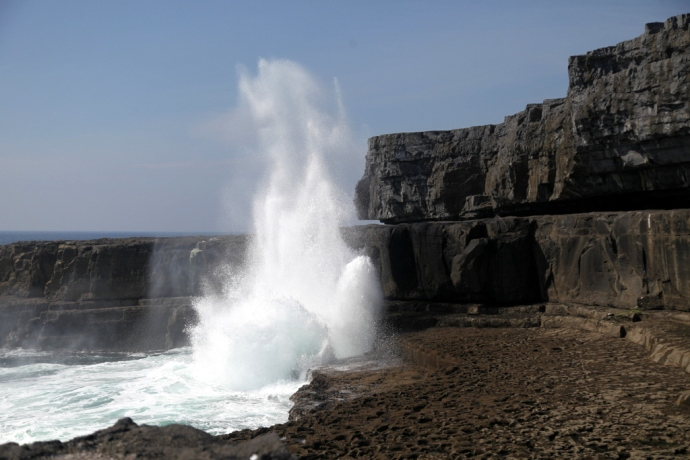 Inis Mor. Blowhole at the Worm Hole. Poll na bPeist