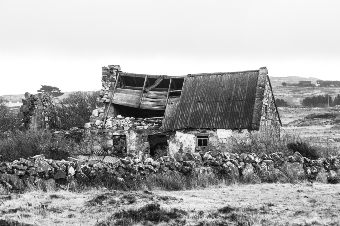 A Connemara cottage.  snow