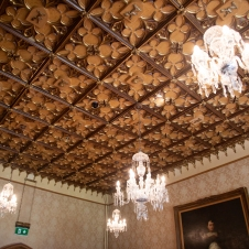 Original ceiling with carved wooden panels