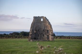 Ruin of windmill on Hook Head peninsula. Another view.